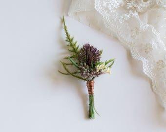 Thistle & Copper Silk Flower Boutonniere