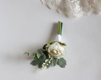 Ivory Eucalyptus Boutonniere. Ranunculus and Greenery Silk Flower Comb.