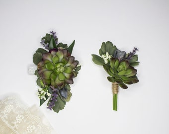 Succulent Duo Corsage & Boutonniere | Artificial Flowers | Lavender | Wrist Corsage and Pin Boutonniere | Bohemian and Whimsical