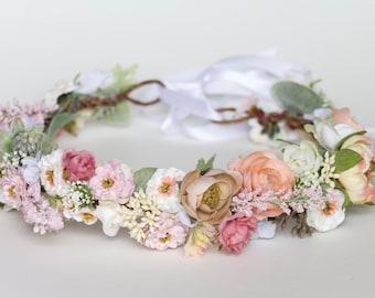 Silk flower crown etsy pastel paradise silk flower crown adjustable mightylinksfo