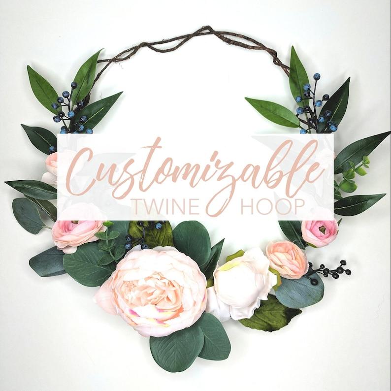 Artificial Flowers CUSTOM Twine Hoop Wreath or Circle Bouquet Nursery Decor Wedding Backdrop 10 12 or 14 Circular Wreath