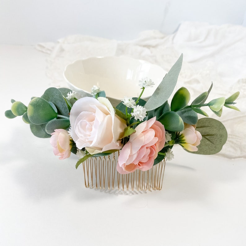 Baby\u2019s Breath Blushing Rose Flower Comb Silver Dollar Eucalyptus hair comb Pink rose Chic Flower Clip Light pink Bridal Comb Blush Rose