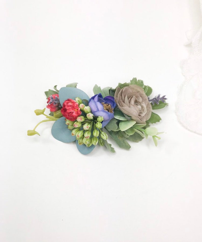 Pink Blue and lavender Silk Flower Clip Bright and vibrant Clip Small Summer Garden Floral Barrette Colorful Flower Clip