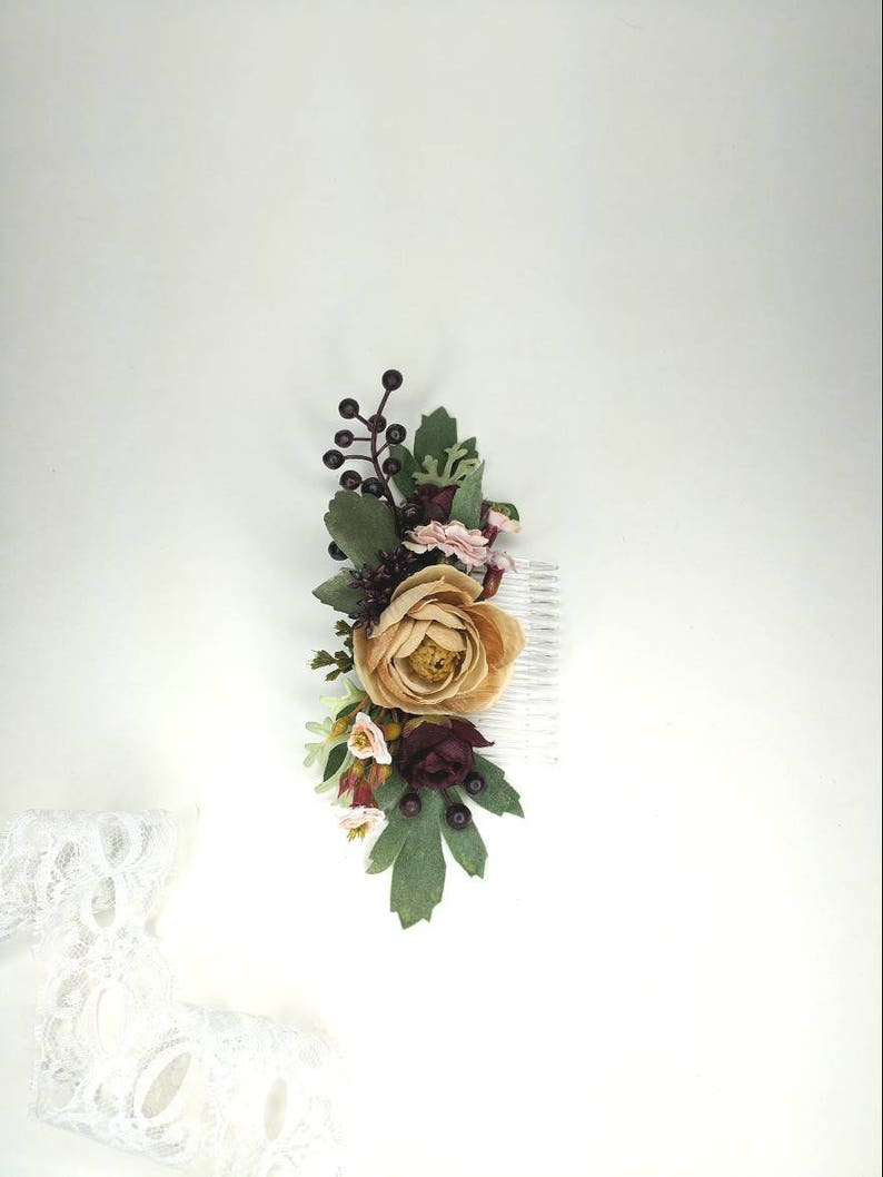 Plum and Beige Flowers Formal Hair Clip  Pink Champagne and Burgundy Silk Flower Comb Wedding Hair Piece Maroon