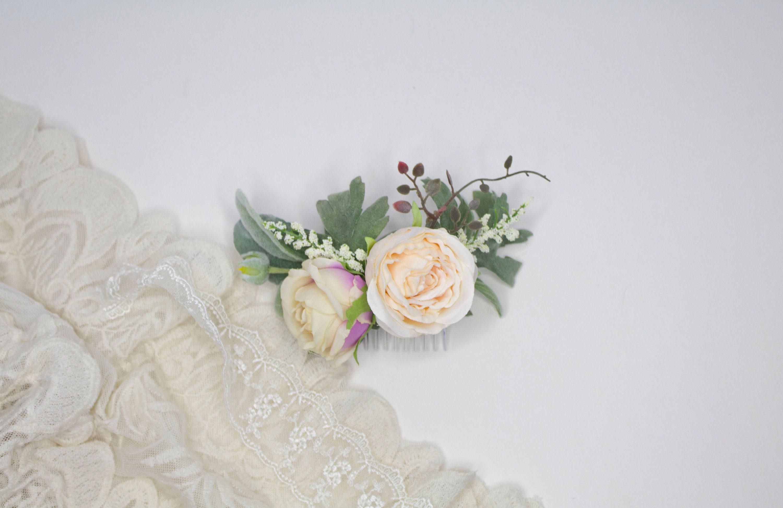 Mauve U0026 Blush Garden Rose Comb | Lambs Ear And Garden Rose Hair Clip |  Wedding Hair Comb | Artificial Flowers | Pink And Sea Foam Greenery