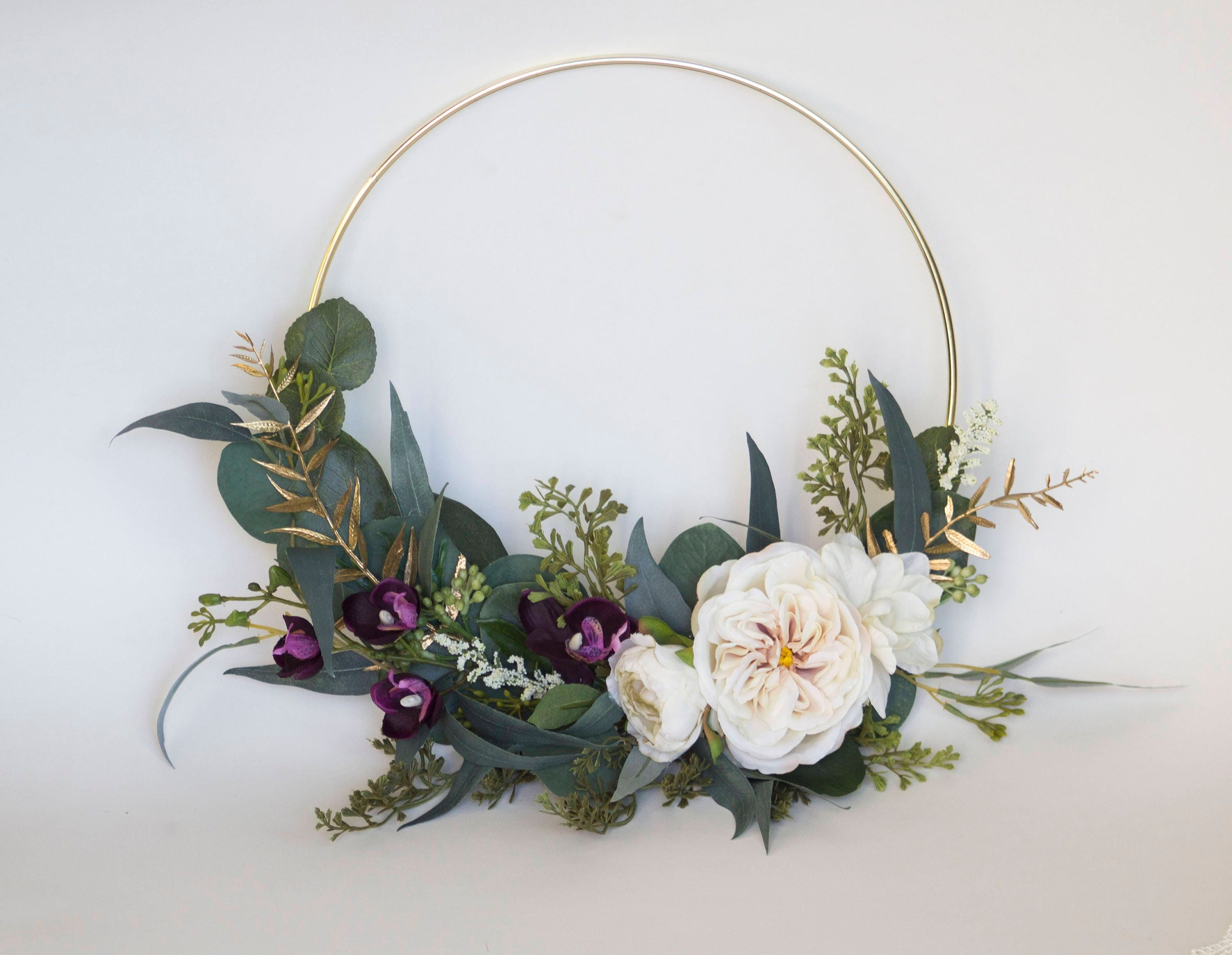 10 Gold Hoop Bouquet Silk Flowers And Gold Hoop Etsy