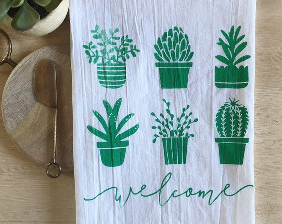 Welcome Succulents Flour Sack Towel