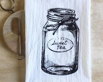 Sweet Tea Mason Jar Flour Sack Kitchen Towel