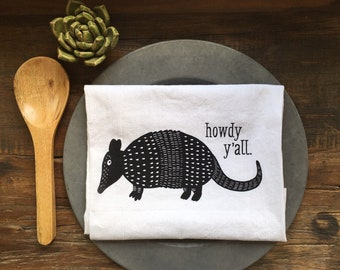 Armadillo Flour Sack Tea Towel