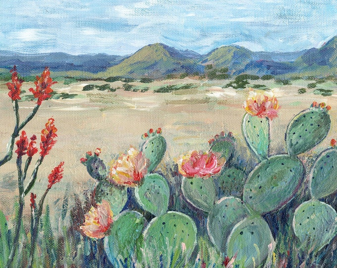Featured listing image: Big Bend Texas Painting Blooming Cactus Landscape Reproduction Print