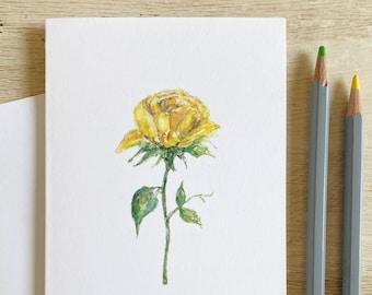 Watercolor Yellow Rose of Texas Greeting Card