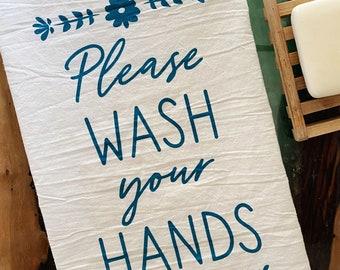 Decorative Wash Your Hands Cotton Towel
