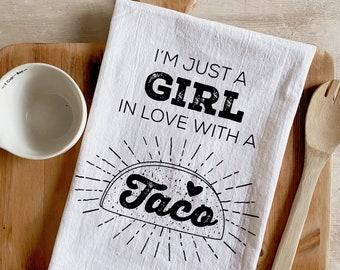 Taco Girl Flour Sack Kitchen Towel