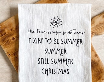 Texas Four Seasons Flour Sack Tea Towel
