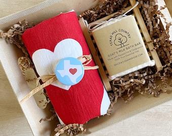 Texas Bath Bar and Cotton Towel Gift Basket