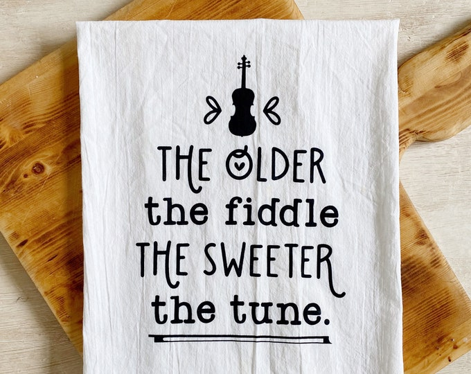 Featured listing image: The Sweeter the Tune Fiddle Flour Sack Kitchen Towel