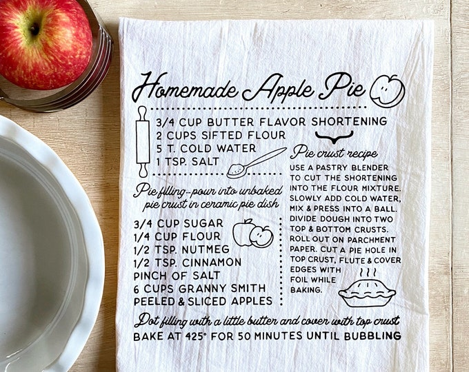 Featured listing image: Apple Pie Recipe Flour Sack Kitchen Towel