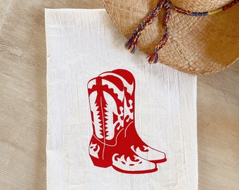 Little Red Cowgirl Boots Flour Sack Kitchen Towel