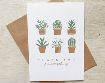 Succulents  and Cactus Thank You Card