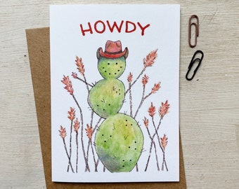 Cowboy Cactus Illustration Greeting Card