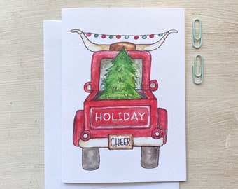 Pickup Truck Christmas Tree Holiday Greeting Card