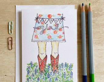 Texas Girl Boots & Bluebonnets Greeting Card