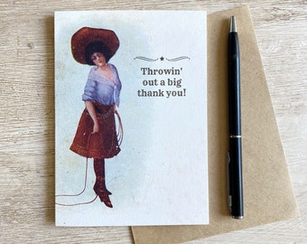 Vintage Cowgirl Rodeo Art Thank You Card