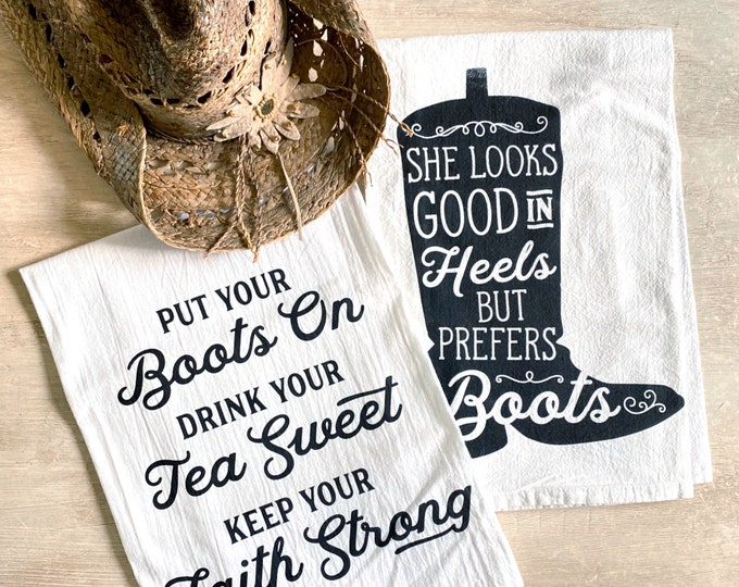 Featured listing image: Cowgirl Flour Sack Kitchen Towel Set