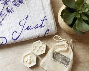 Flour Sack Kitchen or Bath Towel & Honey Lavender Hand Soap Gift Set