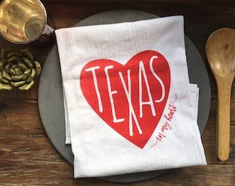 Texas In My Heart Flour Sack Kitchen Towel
