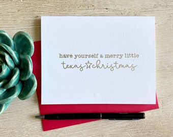 Merry Little Texas Christmas Silver Foil Christmas Card - Single or Box Set