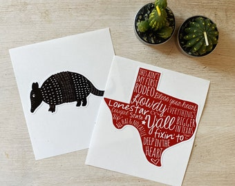 Die Cut Texas and Armadillo Stickers