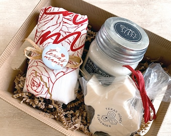 Texas Mama Flour Sack Towel, Candle, & Soap Gift Basket