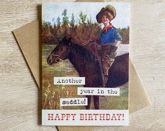 Another Year Vintage Cowgirl Birthday Card