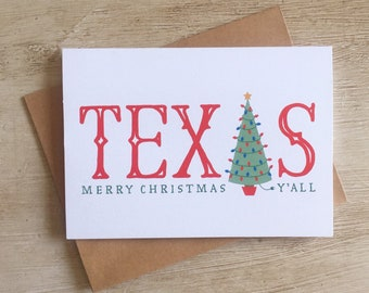 Texas Christmas Cards.Texas Christmas Card Etsy