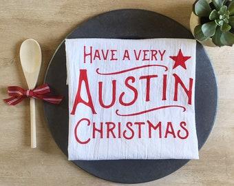 Austin Christmas Flour Sack Towel