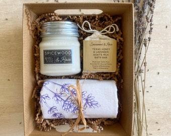 Lavender Flour Sack Towel, Candle, & Soap Gift Basket