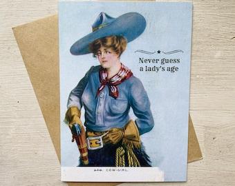 Funny Vintage Cowgirl Birthday Card