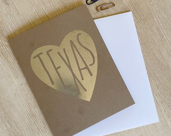 Texas in My Heart Foil Greeting Card