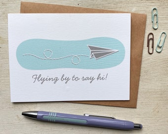 Paper Airplane Hello Greeting Card
