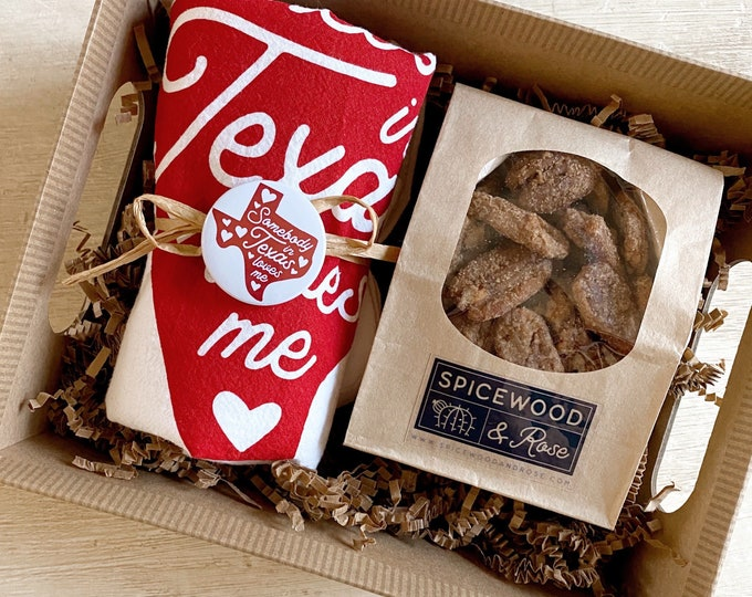 Featured listing image: Texas Love Kitchen Tea Towel & Cinnamon Pecans Gift Basket