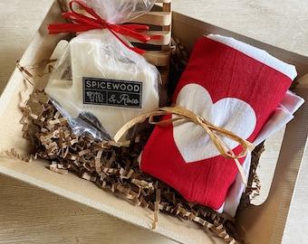 Texas Flour Sack Towel & Honey Lavender Bath Bar Gift Basket