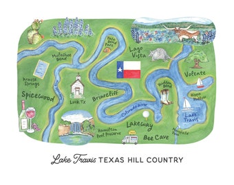 Spicewood & Lake Travis Texas Hill Country Reproduction Print