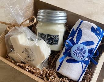 Texas Bluebonnet Flour Sack Towel, Candle, & Bath Bar Gift Basket