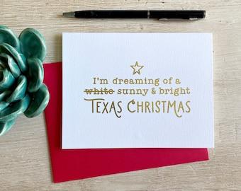 Dreaming of a Texas Christmas Gold Foil Christmas Card - Single or Box Set