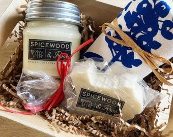 Texas  Bluebonnet Towel, Candle, & Bath Bar Gift Basket