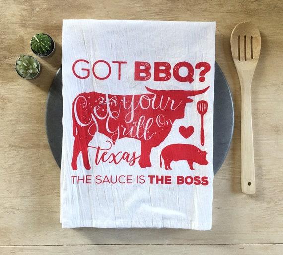 Texas BBQ Flour Sack Tea Towel