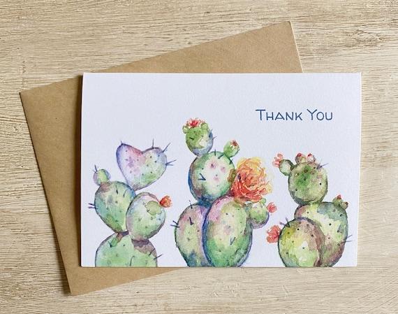 Watercolor Cactus Thank You Card