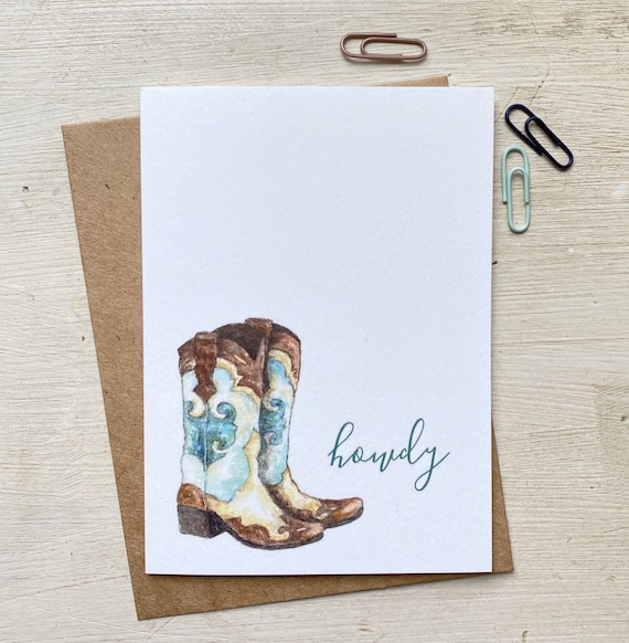 Watercolor Cowgirl Boots Greeting Card