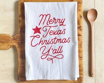 Merry Texas Christmas Y'all Flour Sack Kitchen Dish Towel